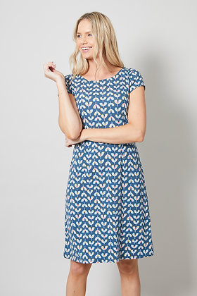 Waves jersey dress in teal