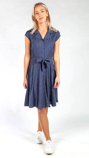 Polka dot shirt dress in navy