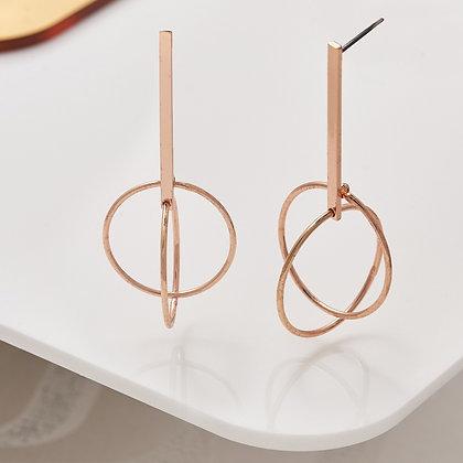 Gold plated bar hoop earrings