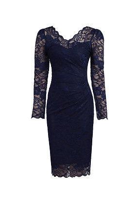 Gathered lace pencil dress in midnight blue