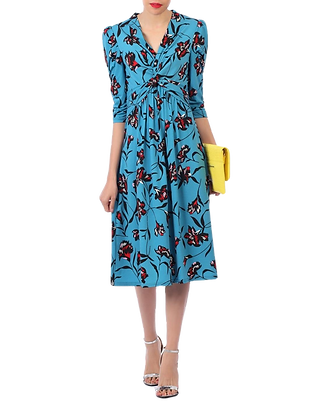 Scatter floral midi dress in blue