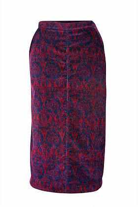 Baroque cord skirt in burgundy