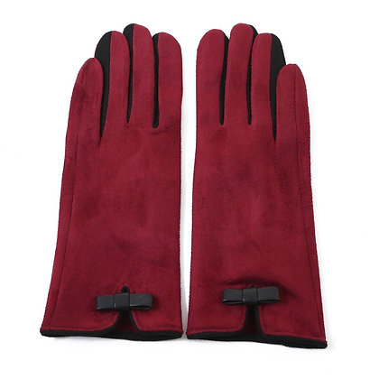 Faux suede gloves burgundy