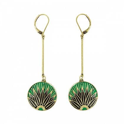 Art Deco green disc drop earrings