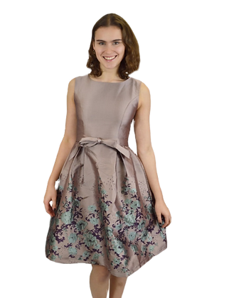 Metallic effect pink floral dress