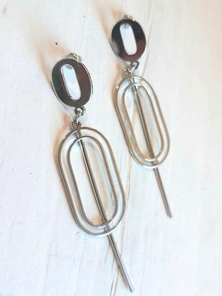 Lozenge bar earrings in silver