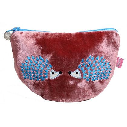 Velvet hedgehog purse in rose