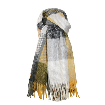 Check scarf in charcoal and mustard