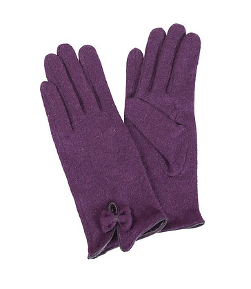 Bow gloves in grape