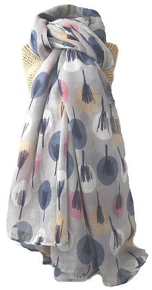 Circle and twig print scarf in grey