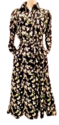 Tulips dress in black and cream
