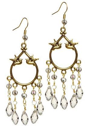 Golden bird crystal drop earrings