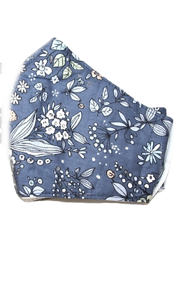 Curved cotton face mask blue floral