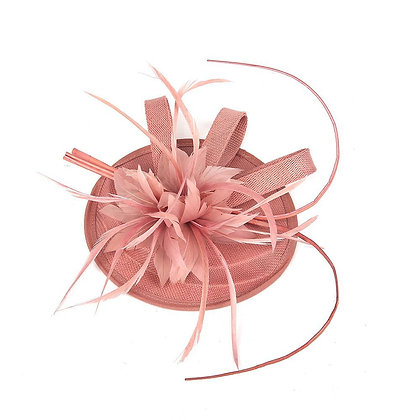 Dusty pink fascinator on band