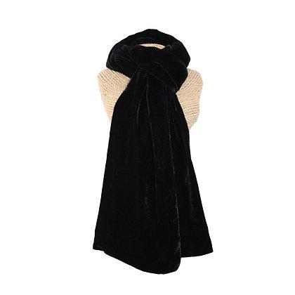 Velvet scarf in black