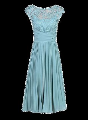Pleats dress in soft blue