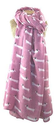 Sausage dog print scarf in pink