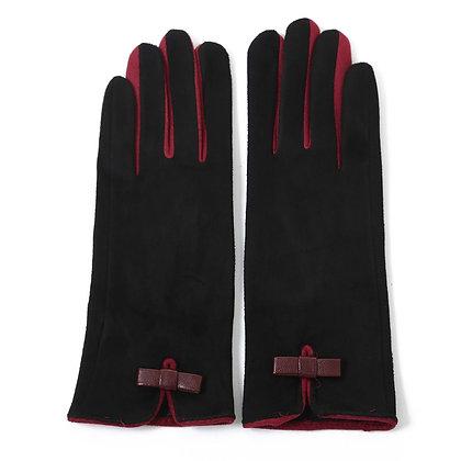 Faux suede gloves black