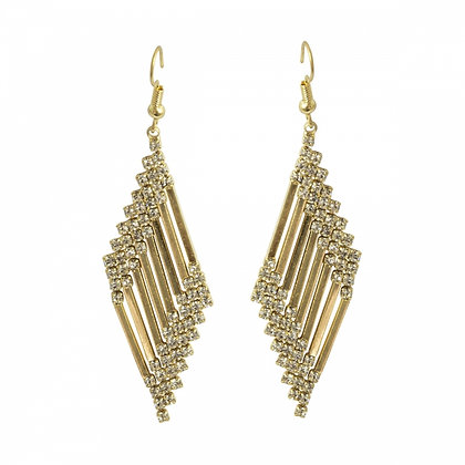 Gold and crystal art deco earrings