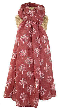 Mulberry tree scarf in berry