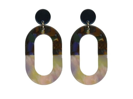 Multi coloured resin oval earring studs