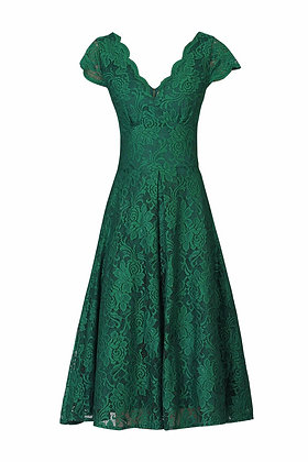 Swing lace dress in emerald green