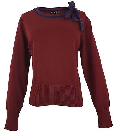 Tie neck sweater in burgundy