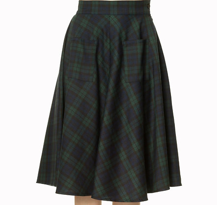Check pocket skirt in dark green
