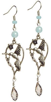 Hummingbird blue agate drop earrings