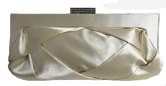 Satin folds bag cream