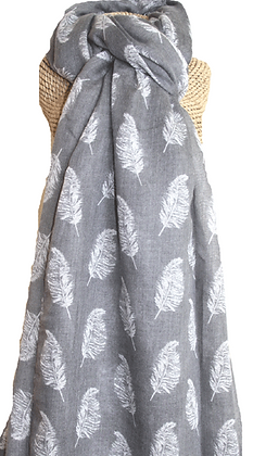 Feather print scarf in grey