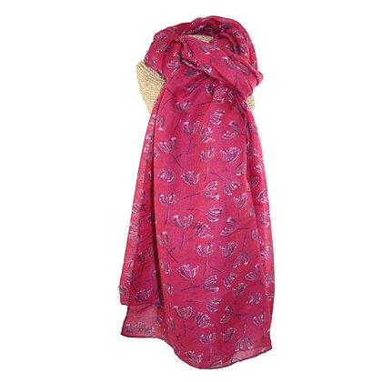Dandelion scarf in pink & plum