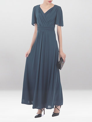 Mesh maxi dress in stormy blue