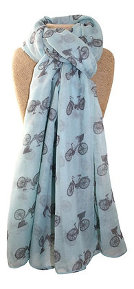 Bicycle scarf in aqua and grey