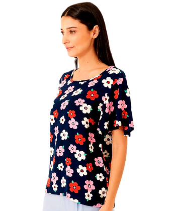 Shirley floral top in dark navy
