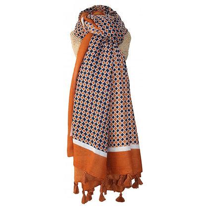 Pattern tassle scarf in tan
