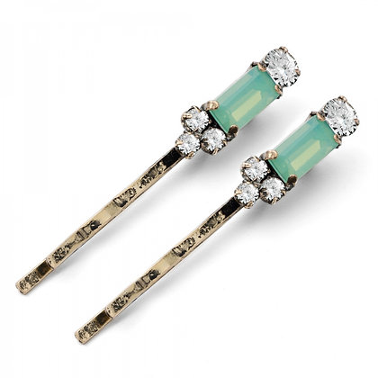Aqua Milkstone 1950's bar style hairclips pair