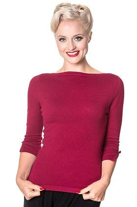 Audrey knit top in crimson