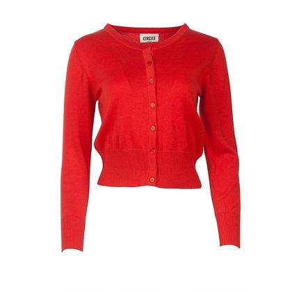 Crop cardigan in bright red
