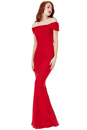 Off the shoulder gown in red