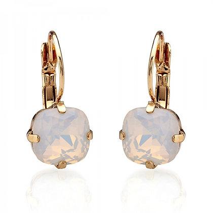 Pink opal crystal earrings