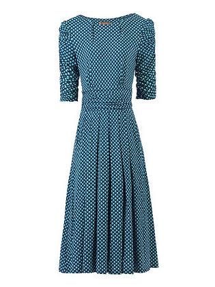 Teal geo print midi dress