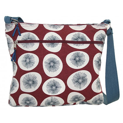 Dandelion messenger bag in burgundy