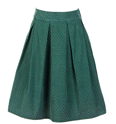 Pin dot cord skirt green