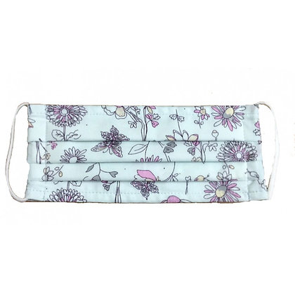 Pleated cotton face mask pale blue floral