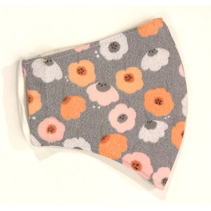 Curved cotton face mask grey floral