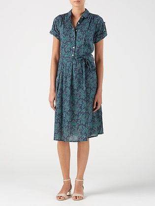 Floral shirt dress in blue and teal