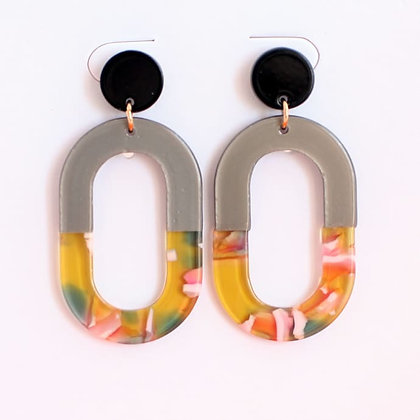Multi coloured resin oval earring studs -grey/yellow