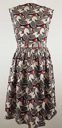 Fruit print dress in red and black
