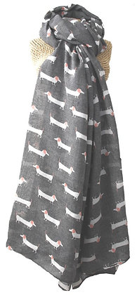 Sausage dog print scarf in charcoal